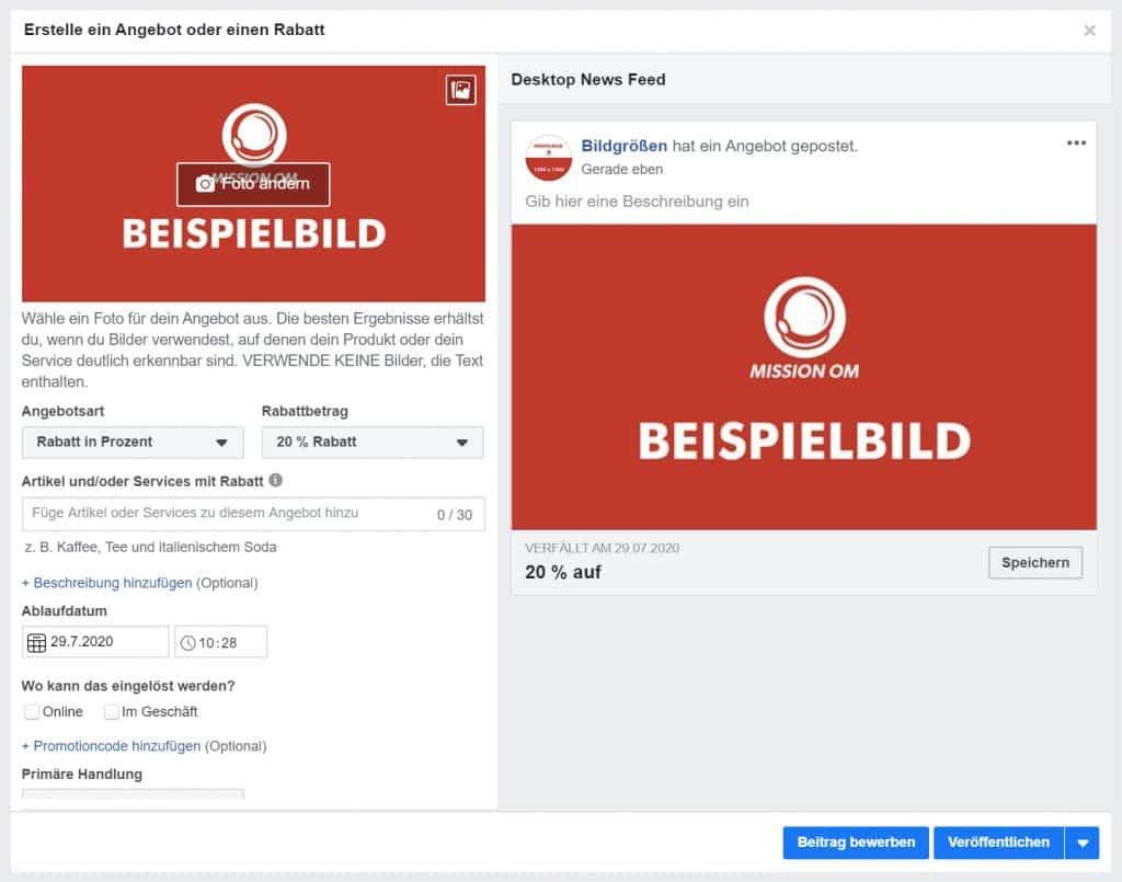 Facebook Angebot Rabatt