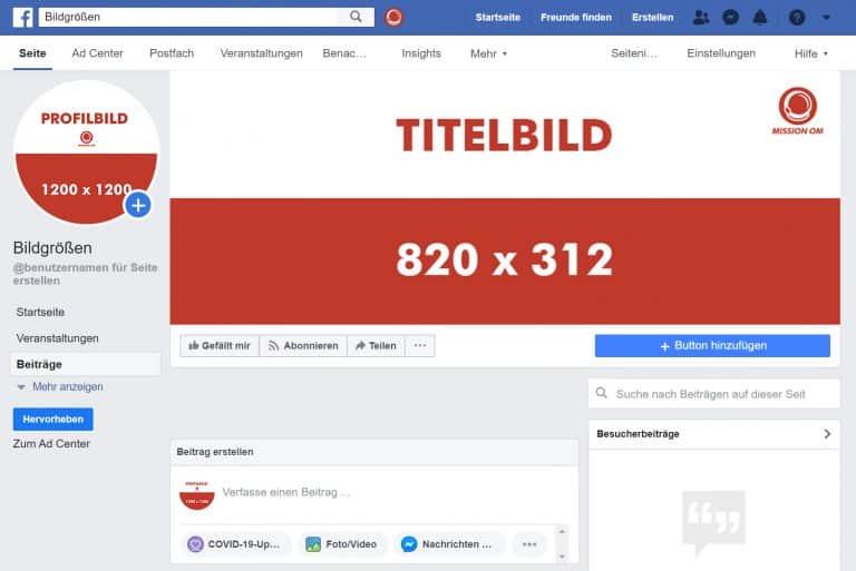 Facebook-Auftritt-Bildgrößen-Template