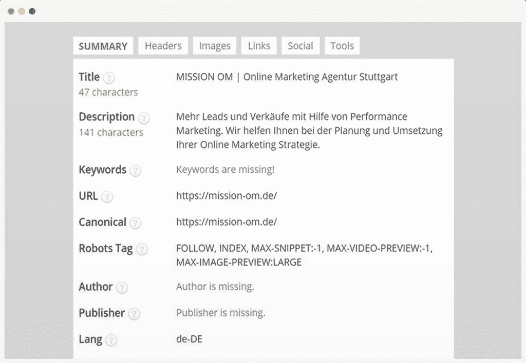 Tool zur SEO Optimierung: SEO META in 1 Click