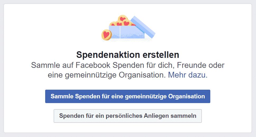Facebook Spendenaktion erstellen